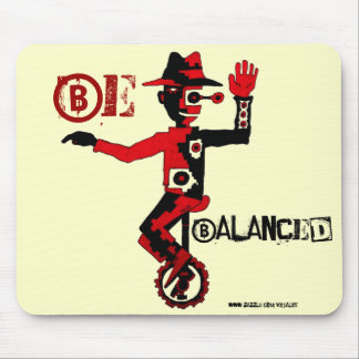 Clown on unicycle abstract graphic art mousepad