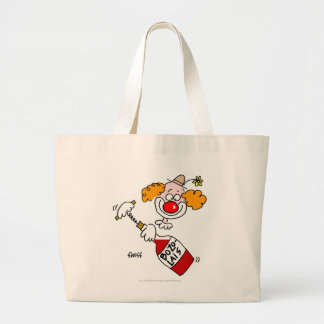 Clown Opens Beaujolais Wine with Corkscrew Large Tote Bag