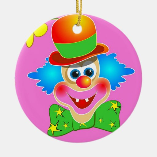 Clown Double-Sided Ceramic Round Christmas Ornament