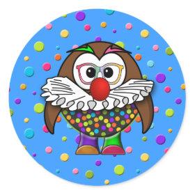clown owl classic round sticker