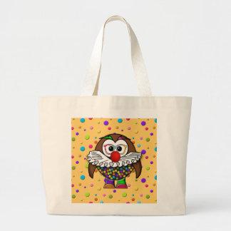 clown owl large tote bag