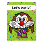 clown owl post card
