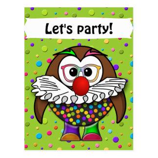 clown owl postcard