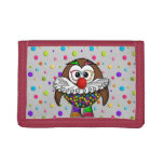 clown owl tri-fold wallet