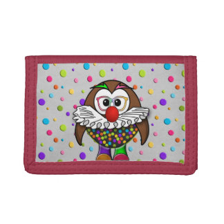clown owl trifold wallet