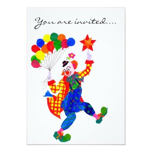 Clown Party Invitation 13 Cm X 18 Cm Invitation Card