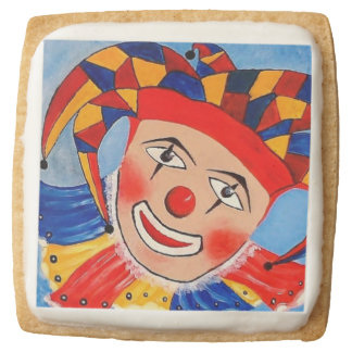 Clown Party Square Shortbread Cookies - Pack of 4 Square Premium Shortbread Cookie