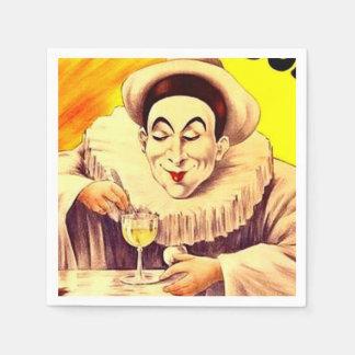 Clown Pierrot Mime Absinthe Cocktail Party Barware Paper Napkin