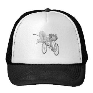 Clown riding bike backwards trucker hat