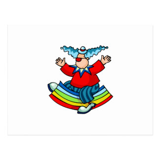 Clown Riding Rainbow Postcard