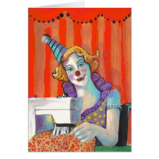 Clown Sewing My Birthday Suit Quilter Crafter Card