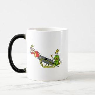 Clown shooting out of a canon mug