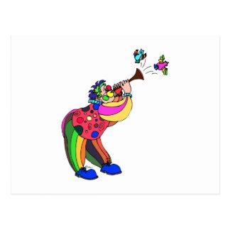 Clown singing to birds postcard
