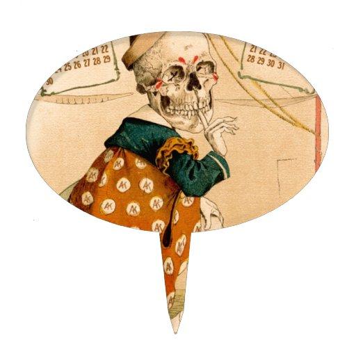Clown Skeleton Vintage Illustration Cake Toppers