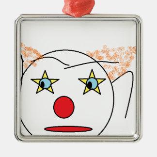 Clown Sketch Square Metal Christmas Ornament