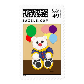 Clown Teddy Bear Stamps