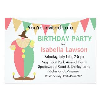 "Clown Theme Girl's Birthday Party 5"" X 7"" Invitation Card"
