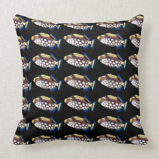 Clown triggerfish and Balistoides conspicillum Throw Pillow