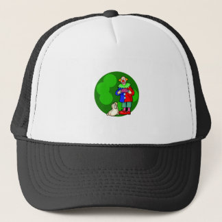 clown with accordian & dog trucker hat