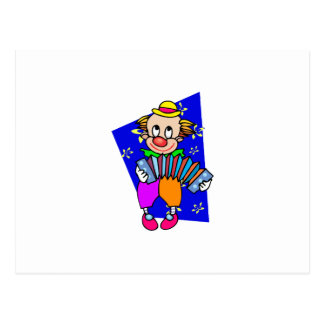 Clown with acordian postcard