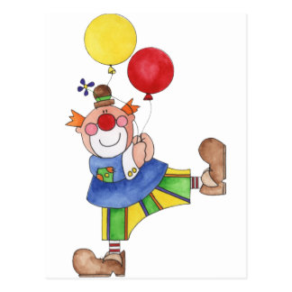 Clown with Balloons Postcard