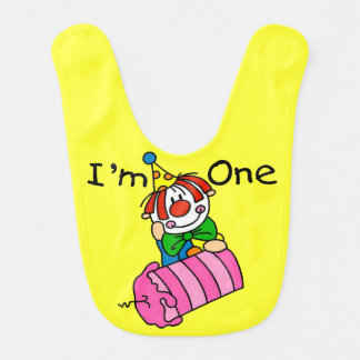 Clown With Candle 1st Birthday Bib
