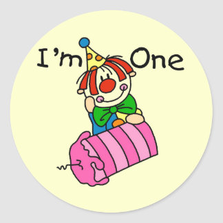 Clown with Candle 1st Birthday Tshirts and Gifts Classic Round Sticker