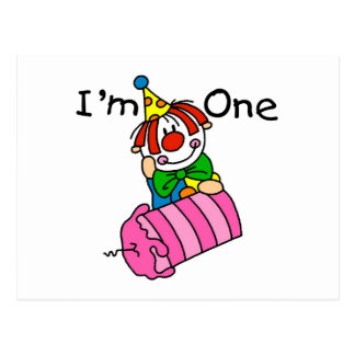 Clown with Candle 1st Birthday Tshirts and Gifts Postcard