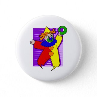 Clown with giant ring button