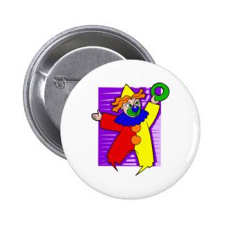 Clown with giant ring pinback button