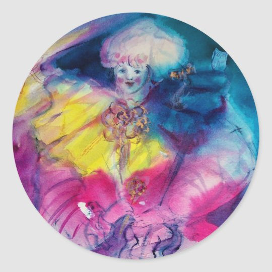 CLOWN WITH OWL AND VIOLIN CLASSIC ROUND STICKER