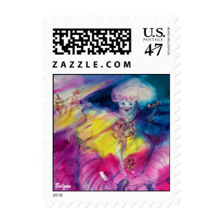 CLOWN WITH OWL AND VIOLIN detail,yellow, pink blue Postage
