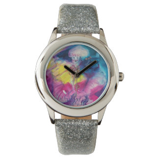 CLOWN WITH OWL AND VIOLIN WRIST WATCH