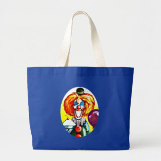 Clown with Pie Painting Large Tote Bag
