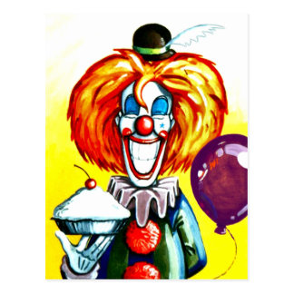 Clown with Pie Painting Postcard