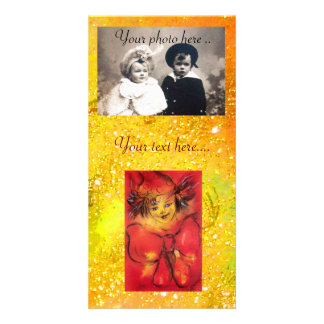CLOWN WITH RED BOW IN GOLD FLORAL SPARKLES CARD