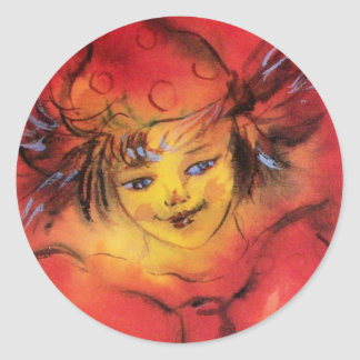 CLOWN WITH RED RIBBON CLASSIC ROUND STICKER