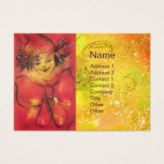 CLOWN WITH RED RIBBON IN GOLD SPARKLES BUSINESS CARD