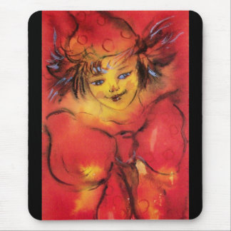 CLOWN WITH RED RIBBON MOUSE PAD