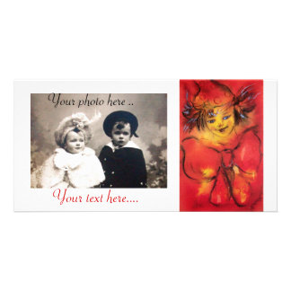 CLOWN WITH RED RIBBON PHOTO CARD