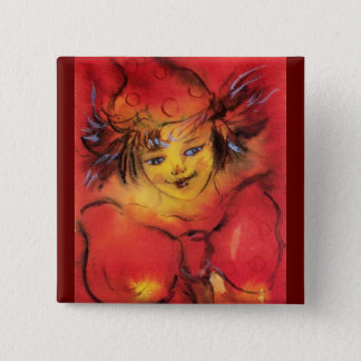 CLOWN WITH RED RIBBON PINBACK BUTTON