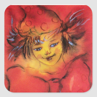 CLOWN WITH RED RIBBON SQUARE STICKER