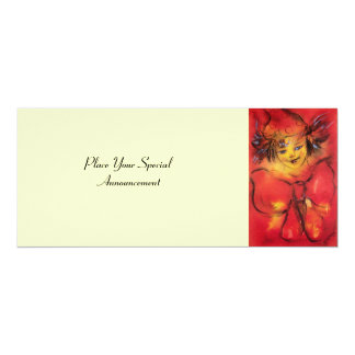 CLOWN WITH RED RIBBON ,Yellow Cream Card