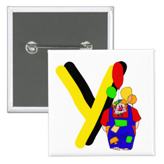 Clown Y.png 2 Inch Square Button