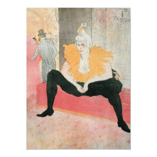 Clowness asentado de Enrique de Toulouse-Lautrec Invitación 13,9 X 19,0 Cm