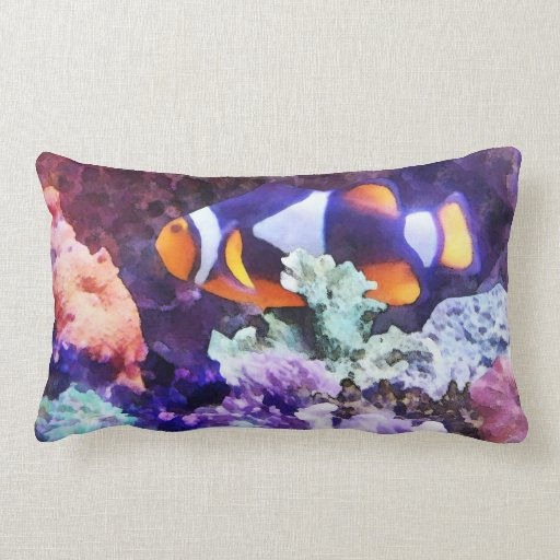 Clownfish and Coral Throw Pillows