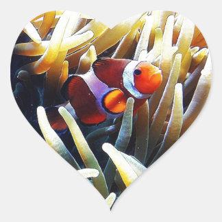 Clownfish Anemonefish Pegatina En Forma De Corazón