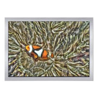 """Clownfish en anémona de mar invitación 5"""" x 7"""""""