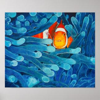 Clownfish en las anémonas de mar azules y el póster