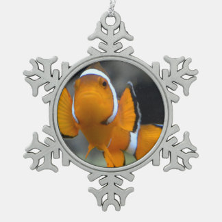 clownfish facing front snowflake pewter christmas ornament